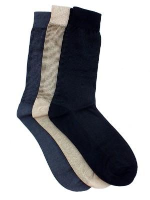 Marc Men's Self Design Crew Length Socks(Pack of 3)