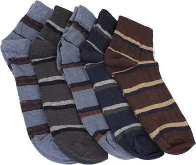 Mikado Simple Charm Men's Striped Ankle Length Socks(Pack of 5)