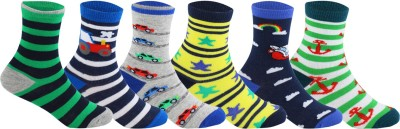 Supersox Baby Boys Striped, Self Design Crew Length Socks