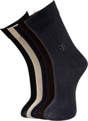 Marc Men's Self Design Crew Length Socks(Pack of 5)