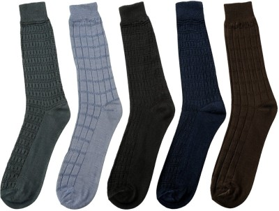Mikado Self Design Men's Self Design Crew Length Socks(Pack of 5)