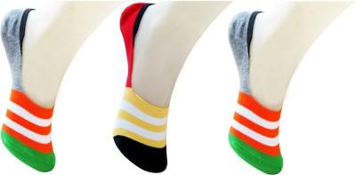 Neska Moda Men & Women Striped No Show Socks(Pack of 3)