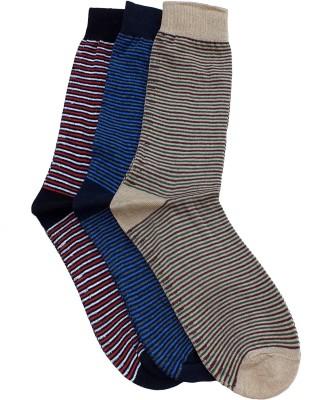 Marc Men's Striped Crew Length Socks(Pack of 3)