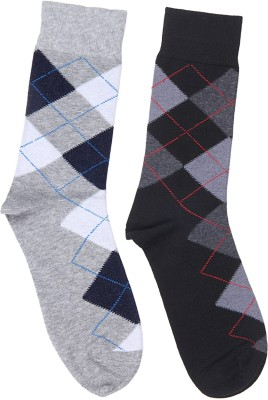 Graceway Men's Geometric Print Crew Length Socks(Pack of 2)