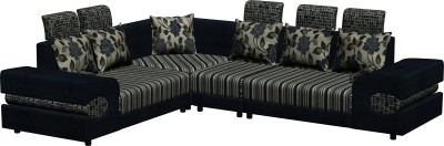 Knight Industry Fabric 6 Seater  Sofa(Finish Color - Blue)