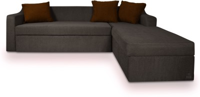 Dolphin Fabric 3 + 2 Grey-Brown Sofa Set(Configuration - L-shaped)