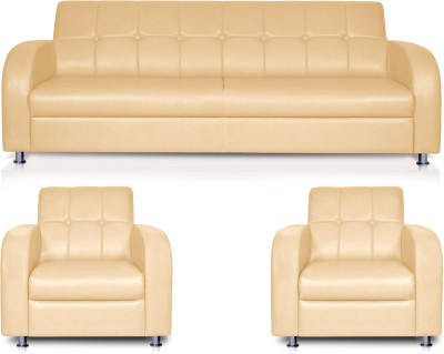 Dolphin Leatherette 3 + 1 + 1 Beige Sofa Set(Configuration - Straight)