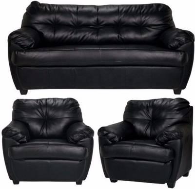 Furny Rosabelle Comfy Leatherette 3 + 1 + 1 Black Sofa Set