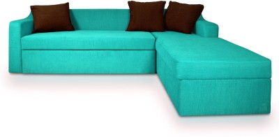 Dolphin Fabric 3 + 2 Turquise-Brown Sofa Set(Configuration - L-shaped)