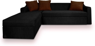 Dolphin Fabric 3 + 2 Black-Brown Sofa Set(Configuration - L-shaped)