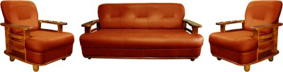Knight Industry Leatherette 3 + 1 + 1 Walnut Brown Sofa Set(Configuration - Straight)