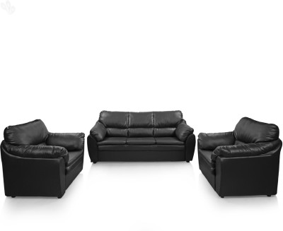 Comfort Couch Lily Leatherette 3 + 1 + 1 Black Sofa Set Sofa Sets ...