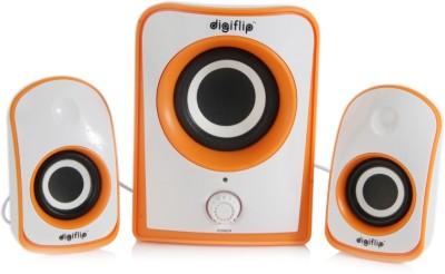 DigiFlip 2.1 Channel 8W PS042 Speaker (800 Watt PMPO)(White & Orange, 2.1 Channel)