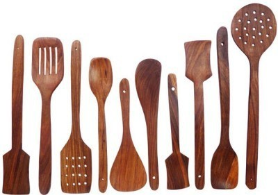 Craftatoz Wooden Spoon Set 1 Frying, 2 Serving, 2 Spatula, 3 Chapati Spoon, 2 Desert Wooden Cooking Spoon Set(Pack of 10)  available at flipkart for Rs.399
