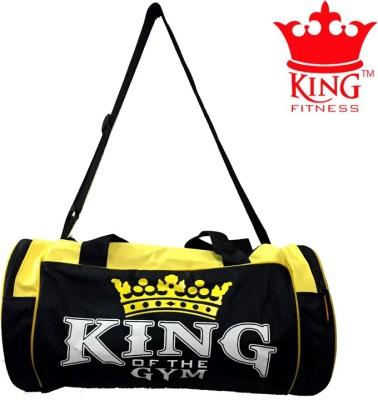KING FITNESS EXCLUSIVE GYM BAG BLACK YELLOW Duffel Black, Kit Bag KING FITNESS Gym Bag