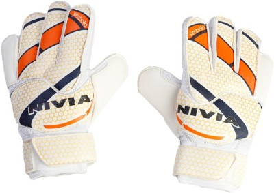 Nivia Simbolo Medium GG-945 Goalkeeping Gloves (M, White, Orange)