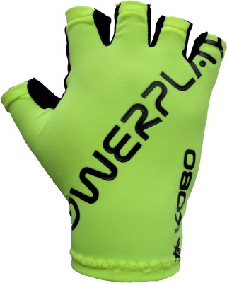 Kobo Grippy Hand Protector Gel Padded Cycling Gloves (L, Green, Black)