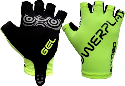 Kobo Grippy Hand Protector Gel Padded Cycling Gloves (M, Green, Black)