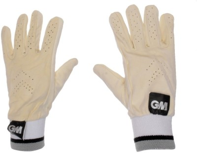 GM Full Chamios Leather Batting Gloves (Men, White, Grey)