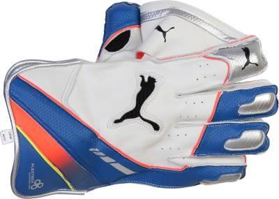 Puma EVO SPEED 5000 Wicket Keeping Gloves (Men, White, Blue)