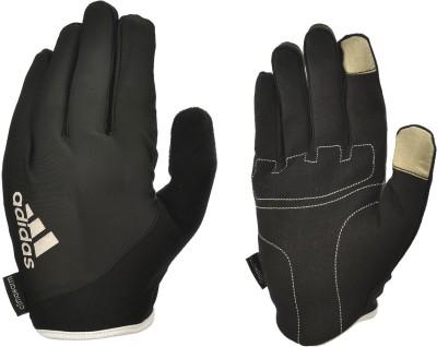 Adidas LONG FINGERED ESSENTIAL LARGE Gym & Fitness Gloves (L, Black, White) at flipkart