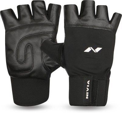 Nivia Leather with Wrist Band Gym & Fitness Gloves (L, Multicolor)  available at flipkart for Rs.399