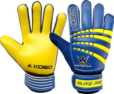 Kobo Elite Pro Football Goal Keeper / Soccer Ball Hand Protector Goalkeeping Gloves (XS, Blue, Yellow)