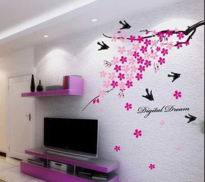 Aquire Wall Stickers Pink Flower Branch with Birds 936(Multicolor)  available at flipkart for Rs.109
