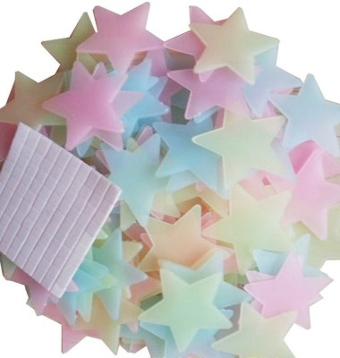 Stickonn Small Glow In The Dark- Colorful stars Sticker(Pack of 50)
