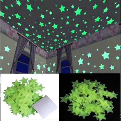 Stickonn Small Green Colour Fluorescent Glow In The Dark Star Wall Sticker(Pack of 100)