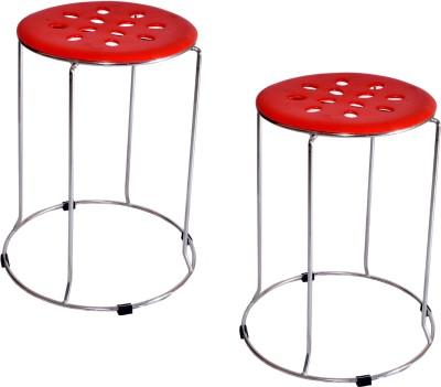 Zecado Solid Outdoor & Cafeteria Stool(Red)