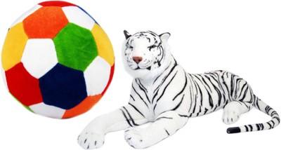 Alexus White Tiger And Football   32 cm Multicolor Alexus Soft Toys