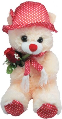 Tickles Cute Teddy with Rose   36 cm Beige 2 Tickles Soft Toys