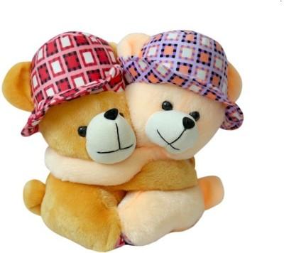 Prachi Teddy Couple With HatCm22   22 cm Brown Prachi Soft Toys