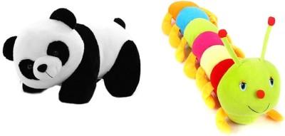 VRV Soft Panda and Caterpiller 25cm   20 cm Multicolour VRV Soft Toys