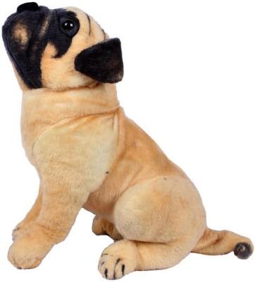 PRINCE Playable Soft Pug Dog   12.5 inch Brown, Black PRINCE Soft Toys