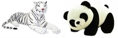 VRV Soft Toy Combo Of Panda and White Tiger 35 cm with tail.   20 cm White, Black VRV Soft Toys