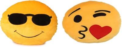 Fabelhaft Cool Dude   Heart kiss Smiley cushion  Pack of 2   35 Cm   4 cm Yellow Fabelhaft Soft Toys