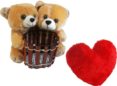 Saugat Traders Couple Teddy Pen Stand With Heart   6.3 Inch Multicolor Saugat Traders Soft Toys