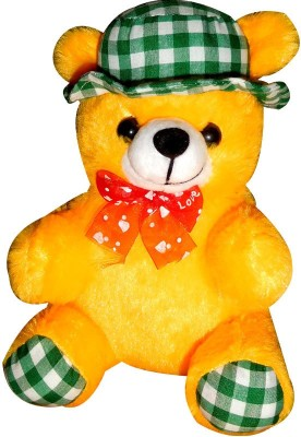 Siddhi Gifts Gifts For Sister   Teddy With Hat   20 cm Yellow Siddhi Gifts Soft Toys