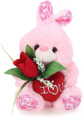 Tickles Rabbit With Rose   18 cm Pink Tickles Soft Toys