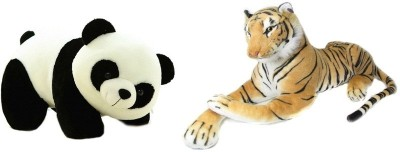 VRV Soft Toy Combo Of Panda and Yellow Tiger  - 25 cm(Multicolour) at flipkart
