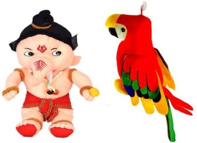 VRV Soft Toy Combo Of Beige Furr and Cloth Soft Ganesha and Musical Colourful Parrot   25 cm Multicolour VRV Soft Toys