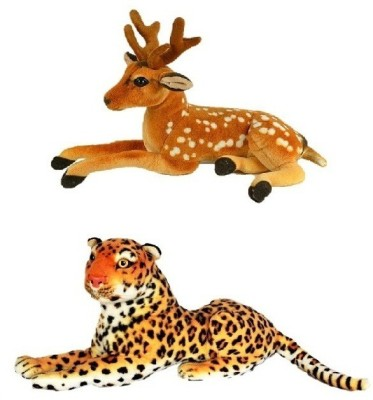 VRV Wild Animal Cheetah and Deer   17 cm Multicolor VRV Soft Toys