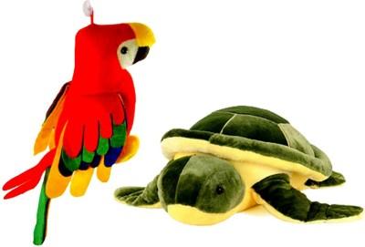 Ewi Cute Soft Toys Parrot   Tortoise   32 cm Multicolor Ewi Soft Toys