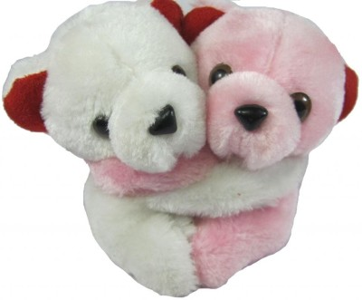 Tickles Hugging Pair Teddy   4.5 inch White, pink Tickles Soft Toys