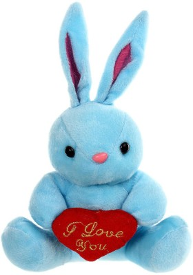 Tickles Cute Rabbit With Heart   19 cm Blue Tickles Soft Toys