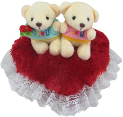Tickles Couple Teddy On Heart   22 cm Red Tickles Soft Toys