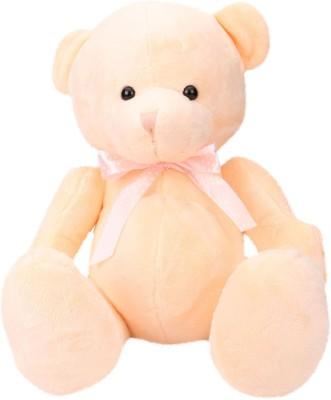 Starwalk Bear Plush With Polka Dotted Bow Light Orange Colour   40 cm Orange Starwalk Soft Toys