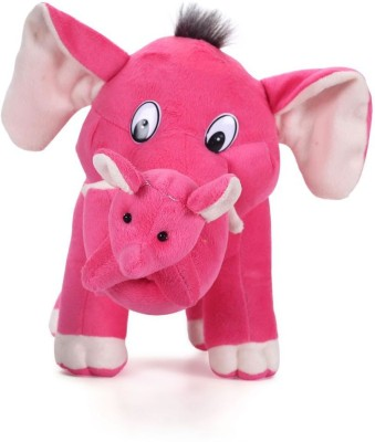 Tickles Cute Mother Elephant With Single Baby   32 cm Pink Tickles Soft Toys